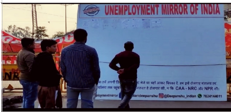 Delhi Elections: At Shaheen Bagh, Youths Erect 'Unemployment Mirror of India'