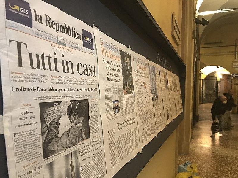 Newspapers during 2020 Italy lockdown