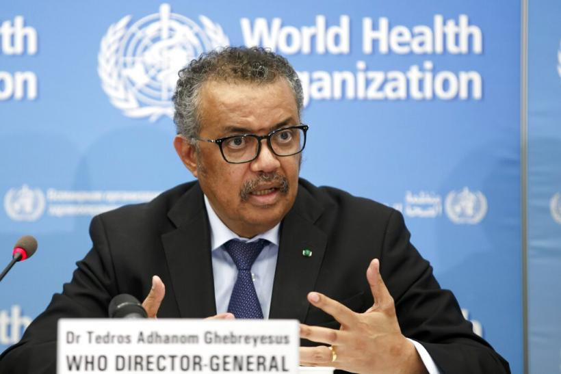WHO Director-General Tedros Adhanom Ghebreyesus addresses a press conference about Covid-19 updates.