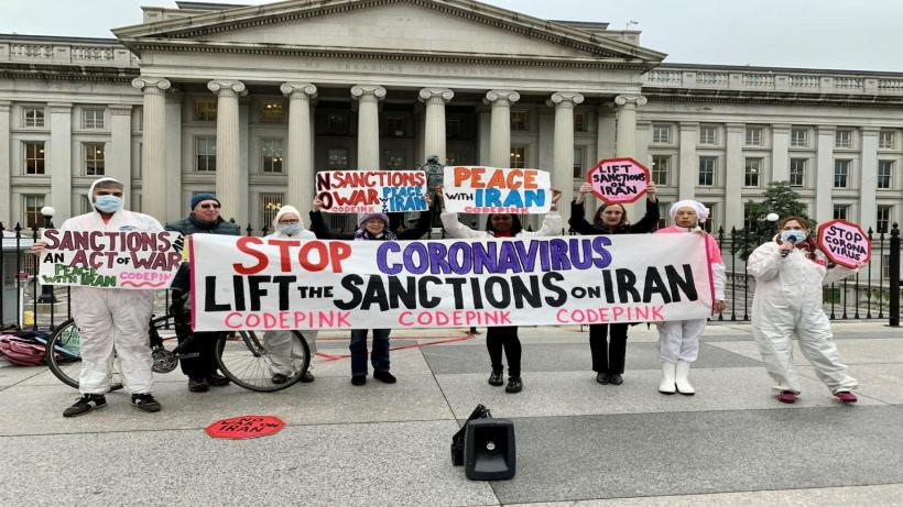 Code Pink protest agaisnt US sanctions on Iran in March, 2020