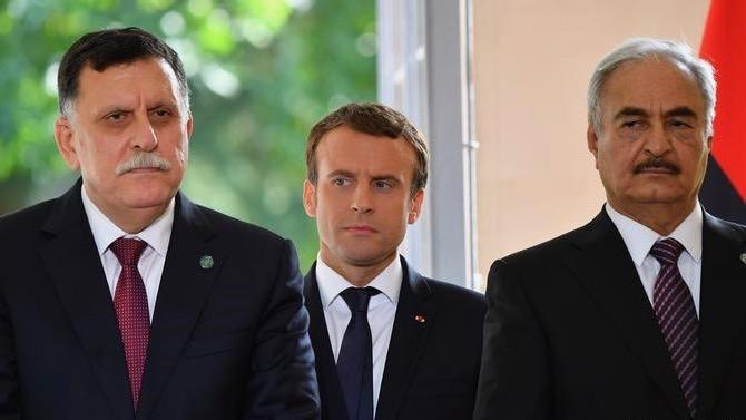 French president Macron, Fayez al-Sarraj of the Government of National Accord and head of Libyan National Army, Khalifa Haftar