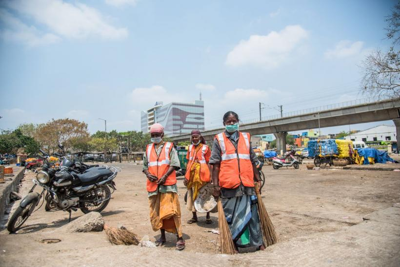 Sanitation workers in Chennai during COVID-19