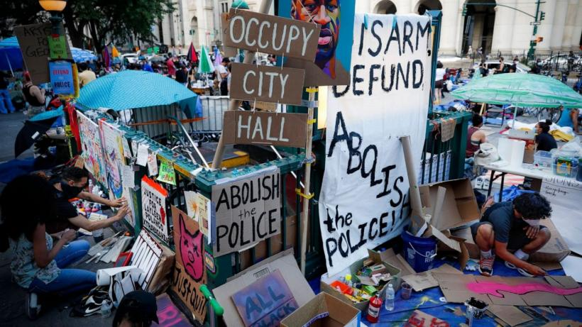Protesters camped outside New York City hall for a week to demand the complete defunding of the NYPD.