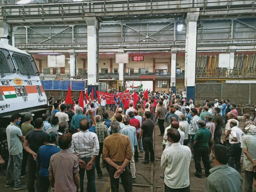 Railway employees protest