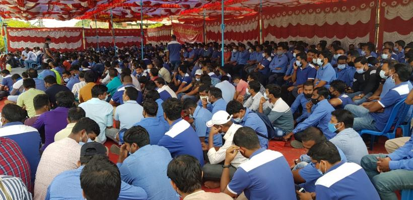 Over 3,500 workers are currently staging a round-the-clock dharna, following the indefinite lock-out, as declared by the company. Courtesy - Special Arrangement