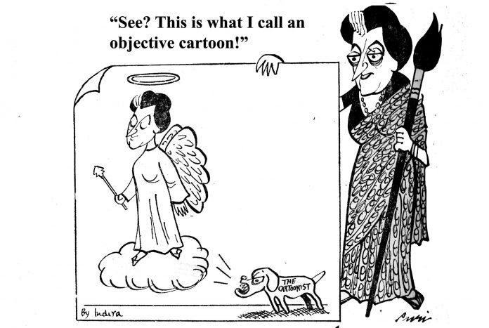 A work of Rajinder Puri caricaturing Indira Gandhi and the Emergency era. (Courtesy: The Print)