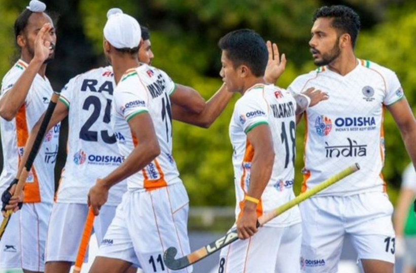 Indian players celebrate during FIH Pro League match vs Argentina