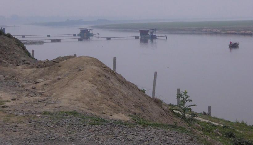 The Ganges River at the intake for Adani's pipeline