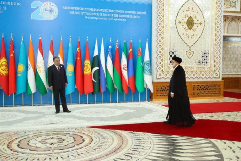 Iran's President Ebrahim Raisi (R) participated in the Shanghai Cooperation Organisation summit in Dushanbe on Sept 16-17, 2021