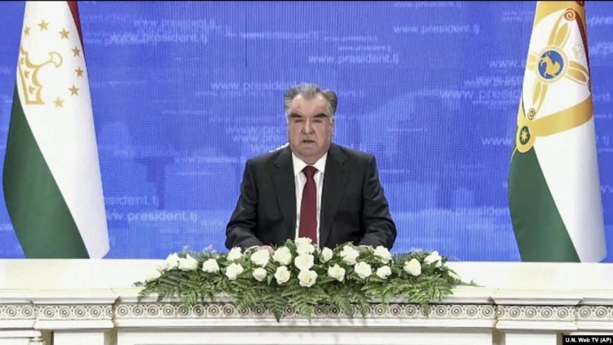 Tajikistan's President Emomali Rahmon remotely addresses the 76th session of the United Nations General Assembly in a prerecorded message on September 23.